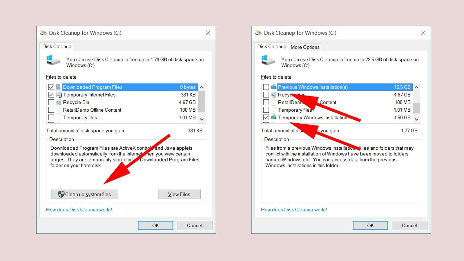 Reclaim Disk Space After the Windows 10 Update by Deleting Old Builds