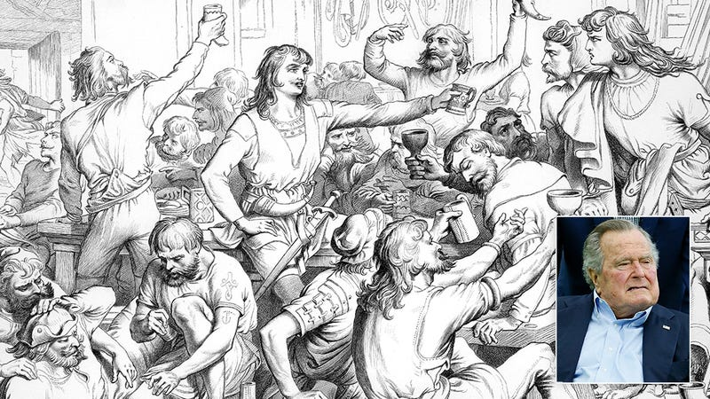 Illustration for article titled A Hero's Reward: George H.W. Bush Is Sitting In Valhalla Nervously Drinking A Glass Of Water While Dead Vikings Battle Around Him