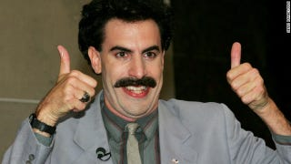 Illustration for article titled Borat's fake Kazakh National Anthem is played by mistake.... (2012)