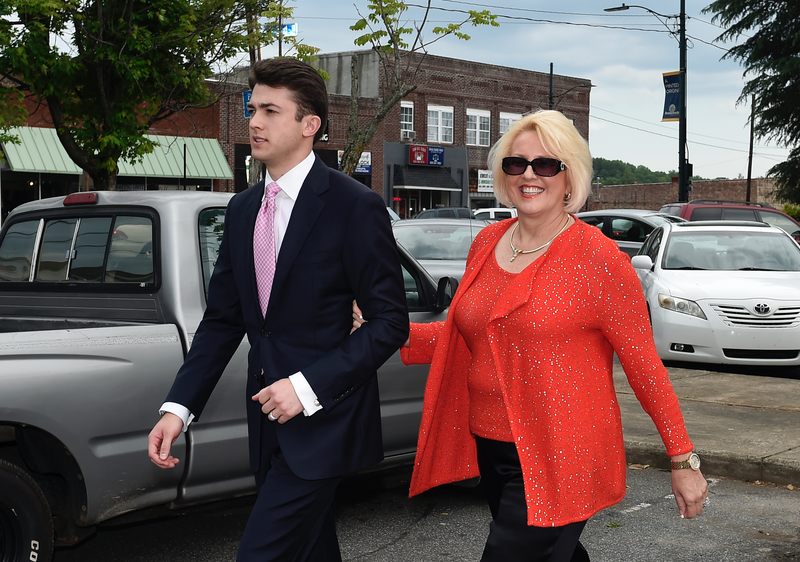 Brooke Covington with attorney leaving Rutherford County Courthouse/Image via AP.