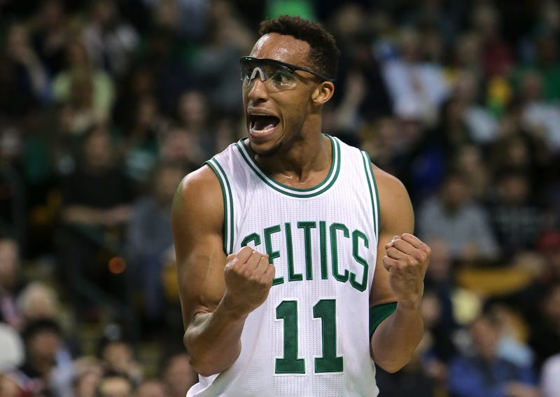 Evan Turner—Evan Turner!—thinking about his new contract. (Photo credit: Mike Lawrie/Getty)