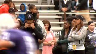 Ray Rice and his family attend opening football game Saturday at his alma mater, New Rochelle High School.CBS New York Screenshot