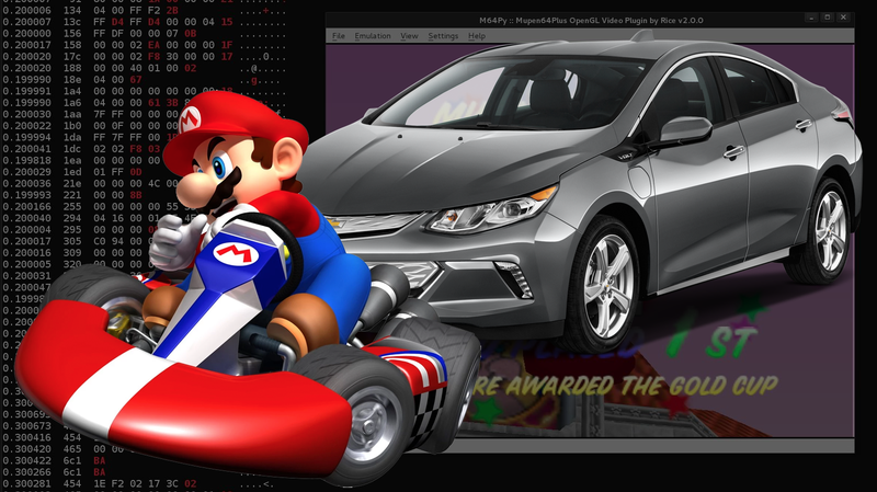 Illustration for article titled This Guy Hacked His Car To Play Mario Kart