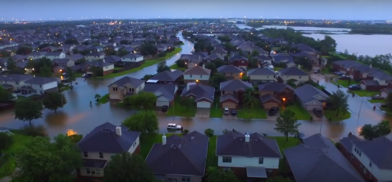 YouTuber Rich Lux shows a neighborhood in Texas devastated by flood waters.