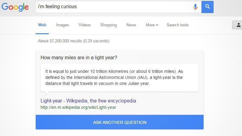 Illustration for article titled Google Search Easter Egg Lets You Learn Random Fun Facts and Trivia
