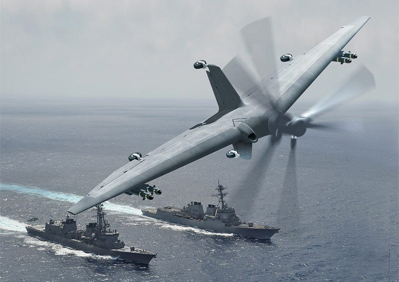 Illustration for article titled DARPA's Vertical Take Off And Landing Combat Drone Could Revolutionize Naval Combat