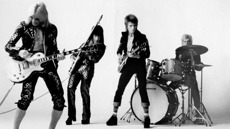 David Bowie and the Spiders From Mars in 1972