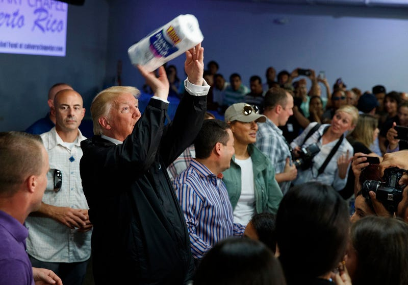 Why wouldn't you want more of this? Donald Trump visiting hurricane victims in Puerto Rico. (Evan Vucci/AP Images)