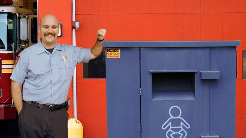 Illustration for article titled Firefighter Excitedly Checks Drop-Off Bin To See If They Got Any Babies While They Were Out