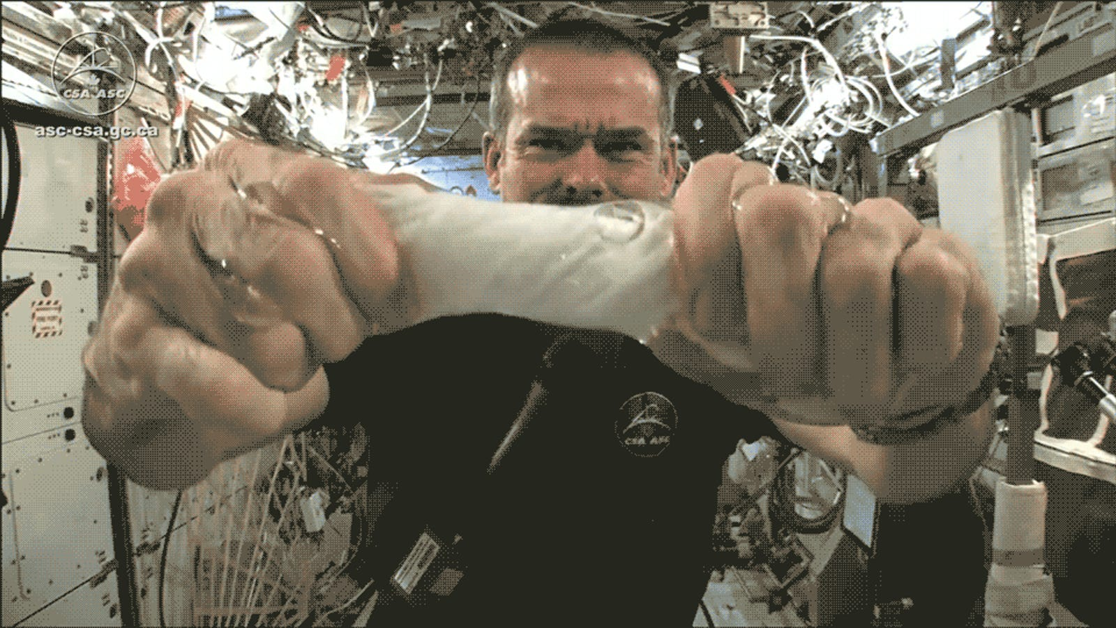 Even Wringing a Wet Cloth Is Magical in Space