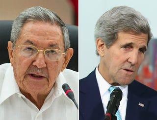 Cuban President Raúl Castro; U.S. Secretary of State John KerryYamil Lage/Getty Images; Sean Gallup/Getty Images