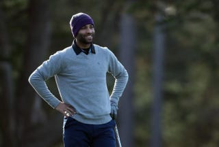James Blake during a practice round for the AT&T Pebble Beach National Pro-Am at Monterey Peninsula Country Club Feb. 5, 2014, in Pebble Beach, Calif. Jeff Gross/Getty Images