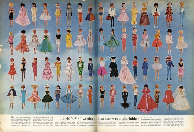 Illustration for article titled Barbie's Entire Wardrobe Cost $136 In 1963