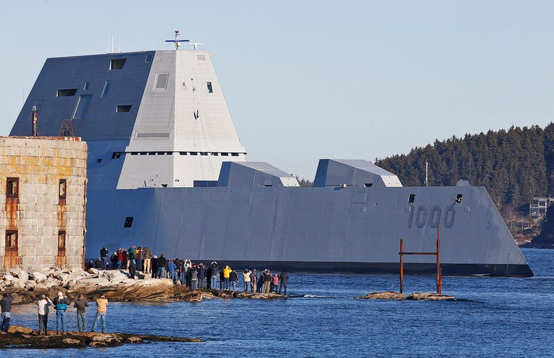 Illustration for article titled Navy's New Zumwalt-Class Stealth DestroyerHelps Save Fishing Boat SkipperOn First Outing
