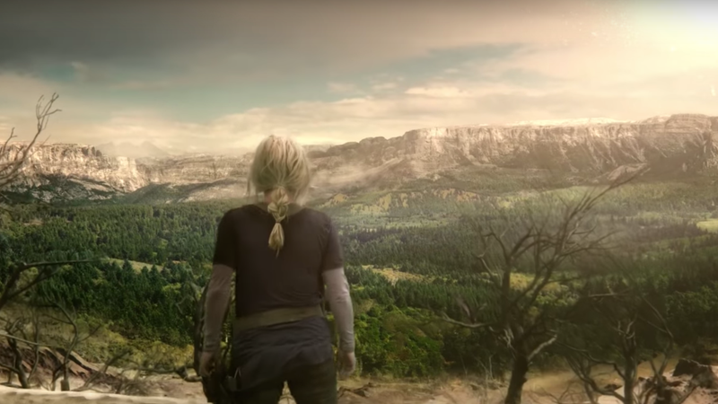 Clarke (Eliza Taylor) looks over the land-o-plenty.