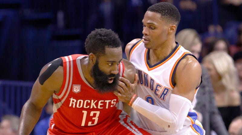 Illustration for article titled Rockets Reunite Russell Westbrook And James Harden, Exile Chris Paul To Thunder In Trade