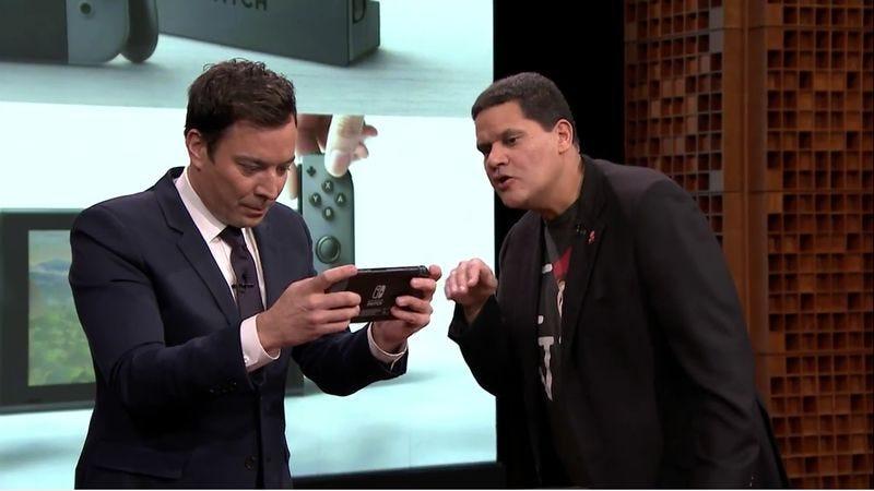 Jimmy Fallon and Reggie Fils-Aime, the President of Nintendo Of America (Screenshot: YouTube)