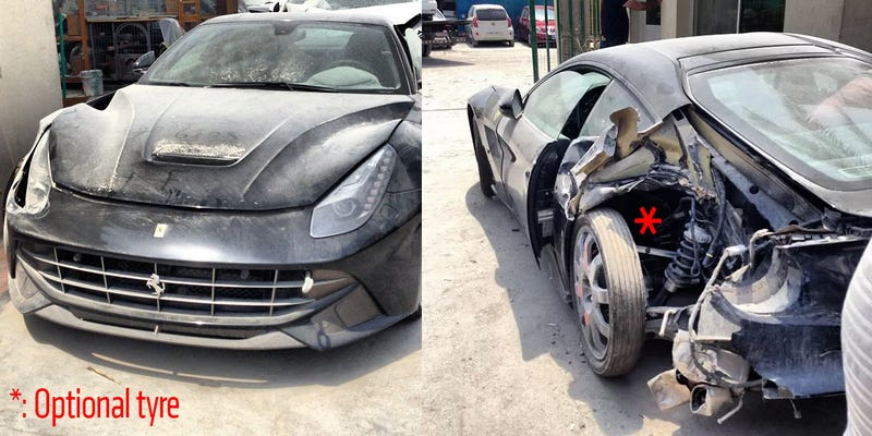 Illustration for article titled Brand New Ferrari F12 Smashed To Pieces In Dubai