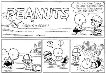 Illustration for article titled Today's The 58th Anniversary Of Lucy Snatching Charlie Brown's Football