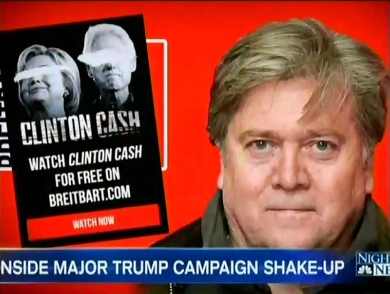 "Stephen Bannon ""helped mainstream the ideas of white nationalists and resuscitate the reputations of anti-immigrant fear-mongers,"" the Daily Beast reported.Media Matters for America screenshot"