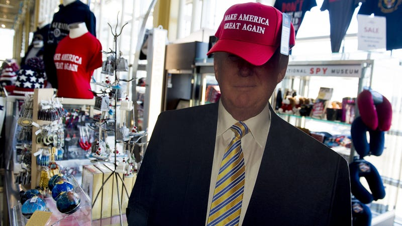 Trump cutout wearing MAGA hat in gift shop at Ronald Reagan Airport in Arlington, Virginia.