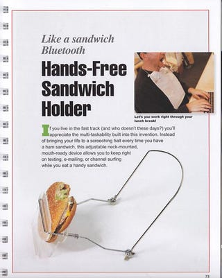 Illustration for article titled World Moves Forward Thanks to Hands-Free Sandwich-Holder