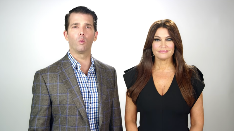 Illustration for article titled Don Jr. and Kimberly Guilfoyle Bring Their Love to This Ad About Rachel Maddow and Burning American Flags