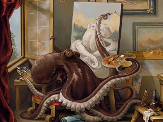 Illustration for article titled If an Octopus Can Paint This Well, Why Isn't He Making 8 Works At Once?