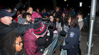 Minneapolis Police Chief Janee Harteau speaks with media and protesters separated by a barricade outside the 4th Precinct police station Nov. 20, 2015, in Minneapolis.Stephen Maturen/Getty Images