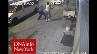 Surveillance video captured an Aug. 29, 2014, altercation that showed two NYPD officers reportedly hitting an unarmed teen with a gun in Brooklyn, N.Y. DNAinfo New York screenshot