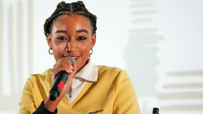 Amandla Stenberg speaks during the Q&A following the premiere of 'The Hate U Give' on Day 4 of the 2018 Urbanworld Film Festival at the AMC 42nd Street Theater on September 22, 2018, in New York City.