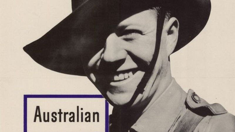 """US wartime poster that reads """"This man is your FRIEND, he fights for FREEDOM"""" and showing an Australian service member (UNT Libraries)"""
