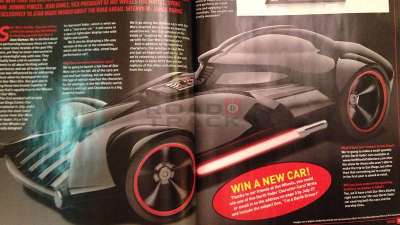 Illustration for article titled Darth Vader is the first Star Wars Hot Wheels car