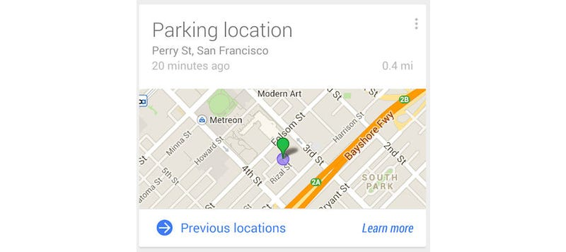 Illustration for article titled Google Now Can Remember Where You Parked