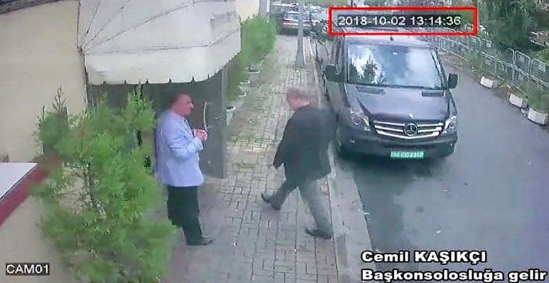This image taken from CCTV video obtained by the Turkish newspaper Hurriyet and made available on Tuesday, Oct. 9, 2018 claims to show Saudi journalist Jamal Khashoggi entering the Saudi consulate in Istanbul, Tuesday, Oct. 2, 2018.