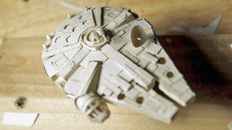 Illustration for article titled This Tiny Papercraft Millennium Falcon Belongs In an Art Gallery