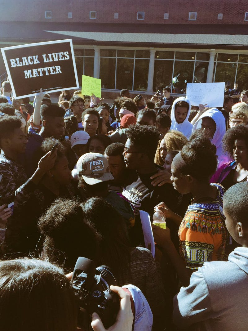 Ladue Horton Watkins High School students protesting Nov. 16, 2016, in Ladue, Mo.Twitter