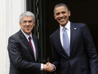 Obama with Portugal Prime Minister José Sócrates Carvalho Pinto de Sousain 2010. (Pierre-Philippe Marcou/AFP/Getty Images)