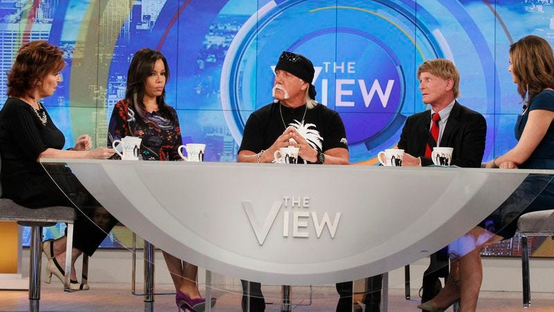 Hulk Hogan wearing sunglasses and a do-rag on The View, like the cool guy he is. (Photo: Getty Images)