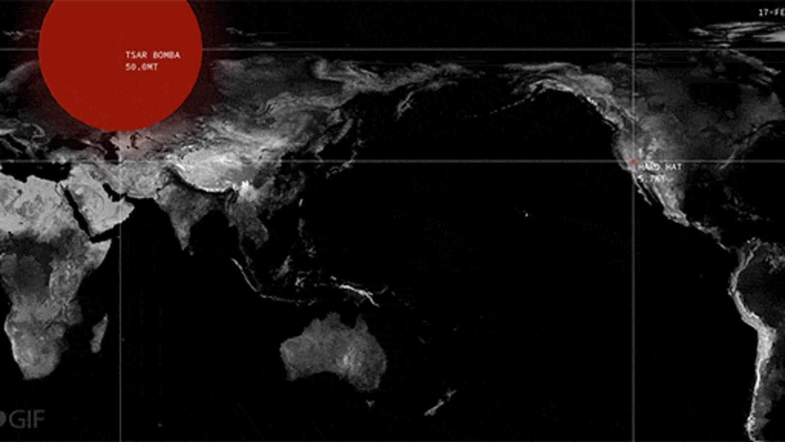 Todas las explosiones nucleares que ha habido desde 1945, en un mapa