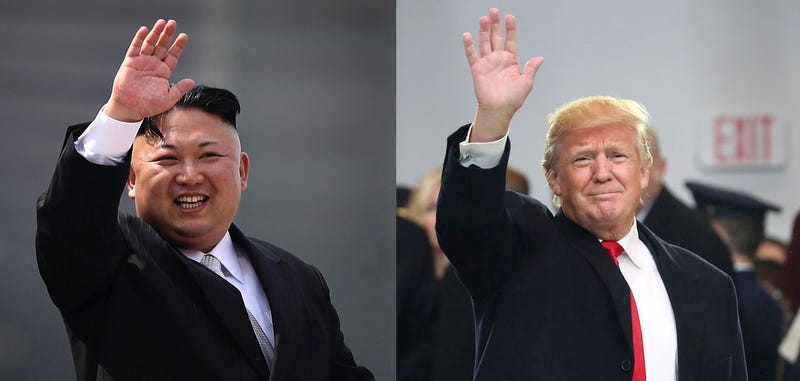 North Korean dictator Kim Jong-un (left, probably) waves to crowds on April 15, 2017 (AP Photo/Wong Maye-E, File) and Donald Trump waves on January 20, 2017 (Photo by Mark Wilson/Getty Images)