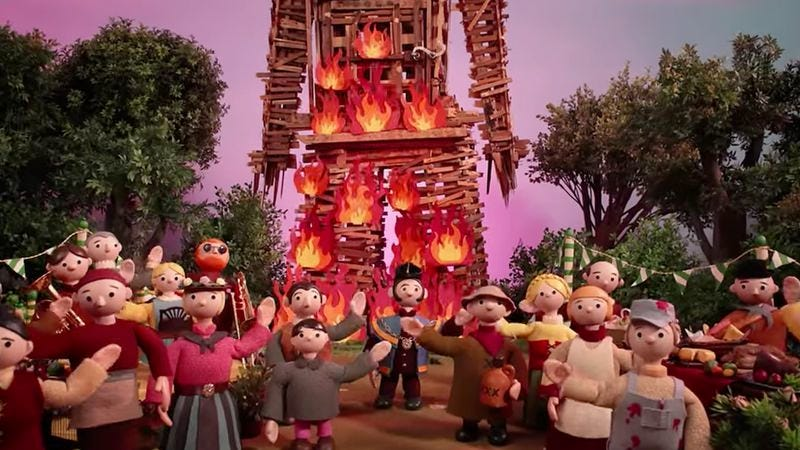 """Illustration for article titled Thom Yorke warbles while puppets burn in Radiohead's """"Burn The Witch"""" video"""