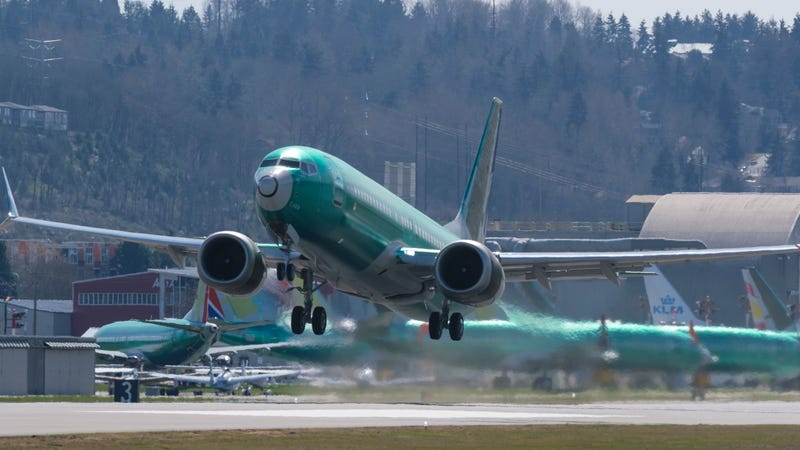 A Boeing 737 Max 8 airliner leaves Renton Municipal Airport near Boeing's production facility in Renton, Washington, in March 2019.