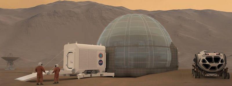 Illustration for article titled Estos refugios de la NASA tienen forma de rosquilla y utilizarán hielo para proteger a los astronautas en Marte