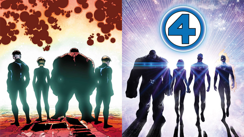 The End and Return of the Fantastic Four, as seen in the covers of Fantastic Four #645 and new art from the announcement of the team's return.