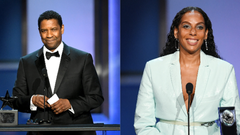 Honoree Denzel Washington and Franklin J. Schaffner Alumni Medal recipient Melina Matsoukas speak onstage during the 47th AFI Life Achievement Award honoring Denzel Washington on June 06, 2019 in Hollywood, California.