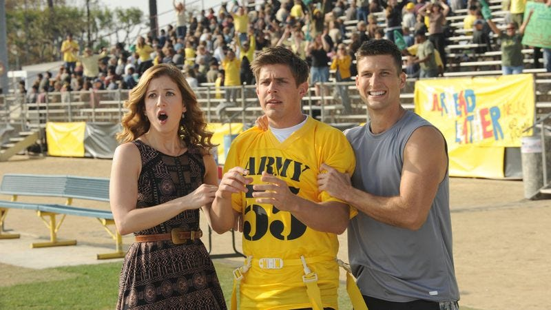 Jessy Schram (left), Chris Lowell, Parker Young (Fox)