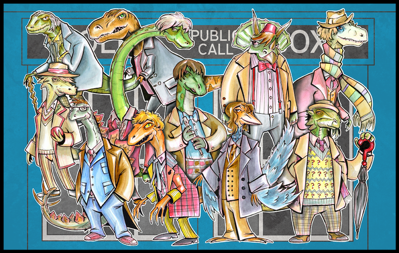 Illustration for article titled The eleven Doctors, drawn as dinosaurs