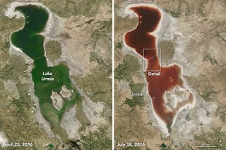 Lake Urmia, before and after (Image: NASA Earth Observatory images by Joshua Stevens)