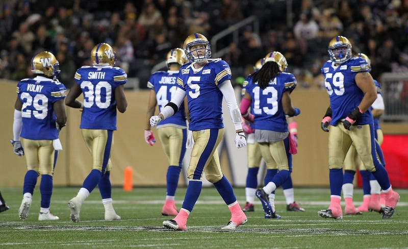 Photo is from 2014 and features QB Drew Willy, who is no longer with the Blue Bombers, but we don't exactly have an abundance of CFL photos in our subscriptions. Photo credit: Marianne Helm/Getty Images